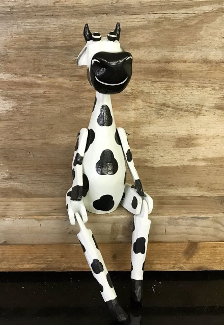 Black & White Cow Hand Carved Wooden Puppet Shelf Ornament 25 cm